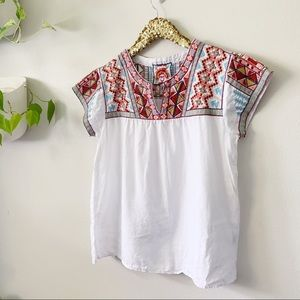 Johnny Was Ezra Embroidered Linen Blouse